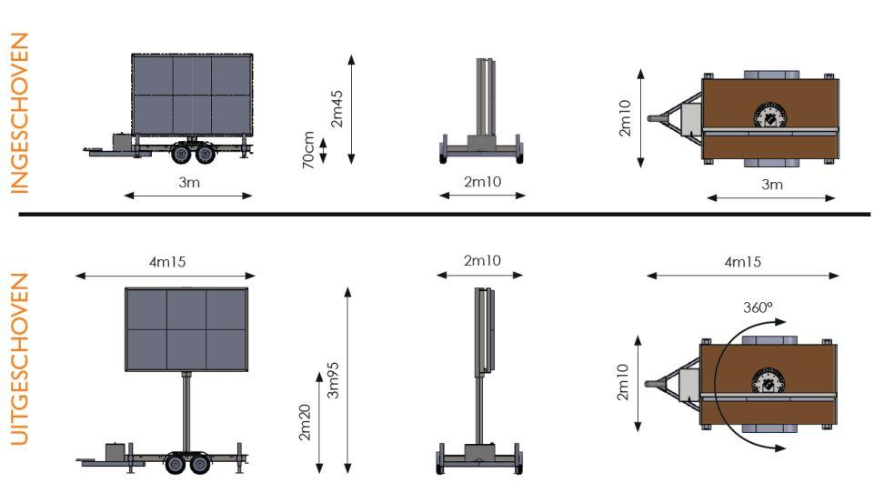 Werktekening met verschillende afmetingen van een 5m² ledscherm op aanhangwagen van Maxled.