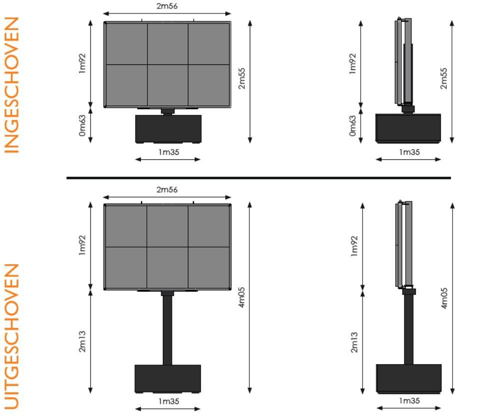 Werktekening met verschillende afmetingen van een 5m² ledscherm op totem van Maxled.