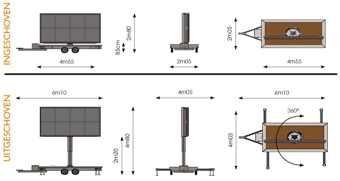 Werktekening met verschillende afmetingen van een 8m² ledscherm op aanhangwagen van Maxled.